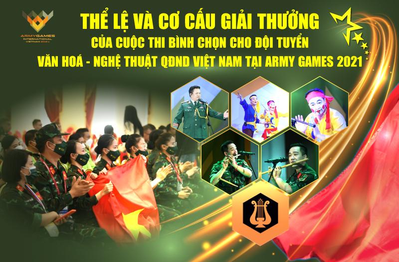 Thể lệ và giải thưởng của Cuộc thi bình chọn cho Đội tuyển Văn hóa- Nghệ thuật QĐND Việt Nam tại Army Games 2021